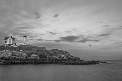 Nubble Light Cape Neddick Black And White Print by John McGraw