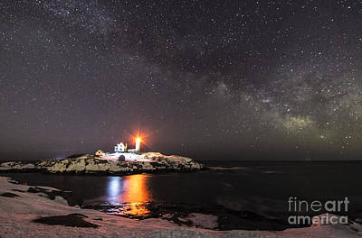 Nubble Light With Milky Way Art Print by Patrick Fennell