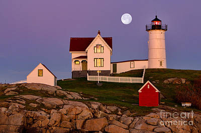 Nubble Lighthouse And Moon Art Print by Jerry Fornarotto