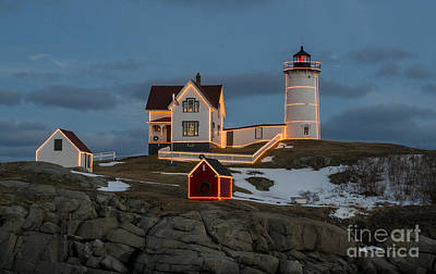 Nubble Lighthouse At Christmas Art Print by Steven Ralser