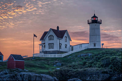 Nubble Lighthouse At Dawn Art Print by At Lands End Photography