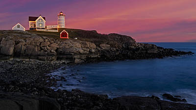 Nubble Lighthouse At Sunset Art Print by Susan Candelario