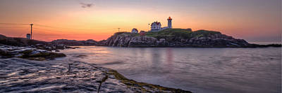 Nubble Lighthouse Before Sunrise - Panorama Art Print by At Lands End Photography