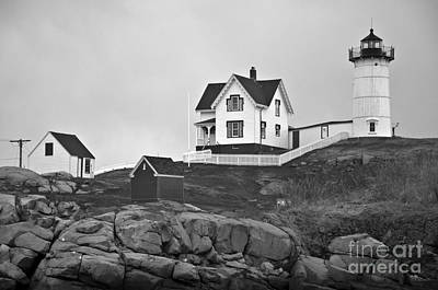 Photograph - Nubble Lighthouse Cape Neddick Maine Black And White by Glenn Gordon