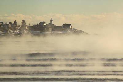 Nubble Lighthouse Cape Neddick Sea Smoke Print by John Burk