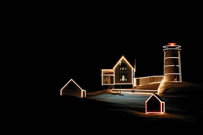 Nubble Lighthouse Christmas Lights Art Print