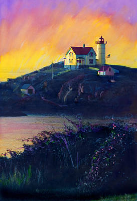 Nubble Lighthouse Art Print by Cindy McIntyre