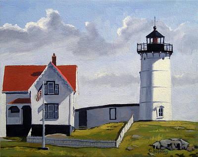 Nubble Lighthouse Painting - Nubble Lighthouse Maine by Christine Hopkins