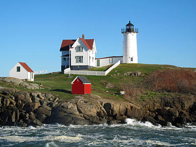 Roses Royalty-Free and Rights-Managed Images - Nubble Lighthouse One by Barbara McDevitt