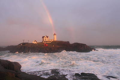 Nubble Lighthouse Rainbow And Surf At Sunset Art Print by John Burk
