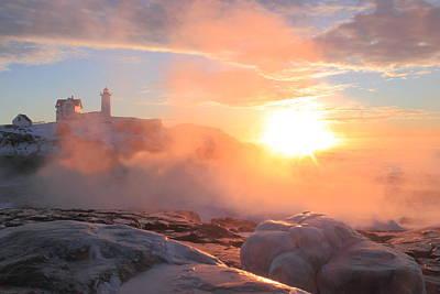 Railroad - Nubble Lighthouse Sea Smoke Sunrise Fog by John Burk