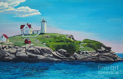 Painting - Nubble Lighthouse Sunrise by Stella Sherman