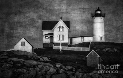 Cape Neddick Lighthouse Digital Art - Nubble Lighthouse Texture Bw by Jerry Fornarotto