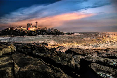 Photograph - Nubble Lighthouse Winter Solstice Sunset by Bob Orsillo