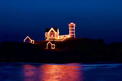 Photograph - Nubble Lighthouse With Christmas Lights by Jeff Folger