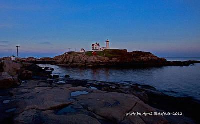 Blue Photograph - Nubble Lighthouse-york Maine by April Bielefeldt