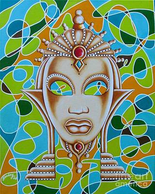 Nubian Modern Ivory Mask  Art Print by Joseph Sonday