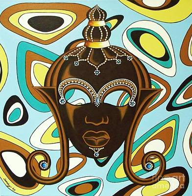 Nubian Modern  Mask Art Print by Joseph Sonday