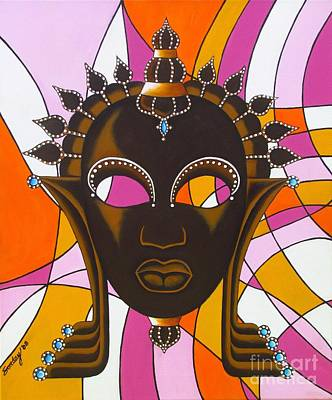 Nubian Modern Mask With Pink Art Print by Joseph Sonday