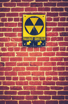 Nuclear Fallout Shelter Sign Art Print by Mr Doomits
