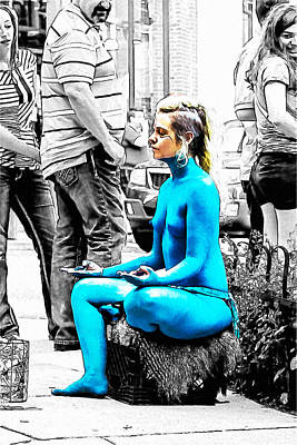 Drawing - Nude A La Smurf by John Haldane