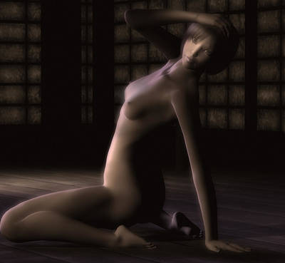 Undressing Mixed Media - Nude Asian Woman by Emma P