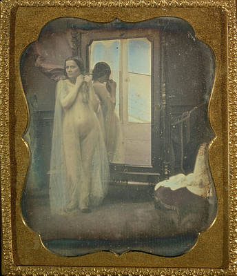 Mirror Drawing - Nude At Mirror Unknown Maker, French 1850 - 1852 by Litz Collection