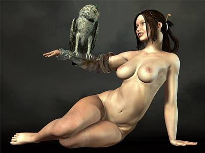 Nude Athena With Owl Art Print
