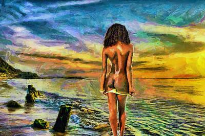 Painting - Nude Bather At Sunset by Tyler Robbins