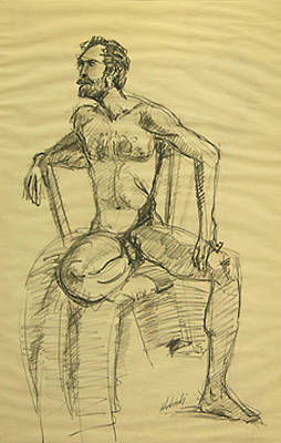 Penis Drawing - Nude Bearded Man Seated In Chair by Frederick Hubicki
