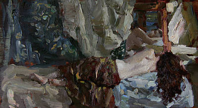 Nude Before The Mirror Art Print by Korobkin Anatoly