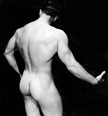 Photograph - Nude Bodybuilder Back View by Underwood Archives