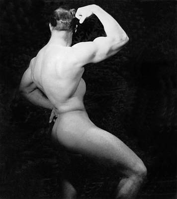 Conscious Photograph - Nude Bodybuilder Side View by Underwood Archives