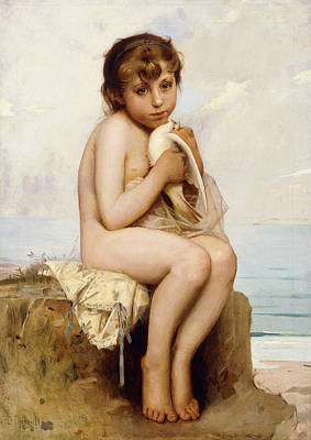 Youthful Painting - Nude Child With Dove by Leon Bazile Perrault