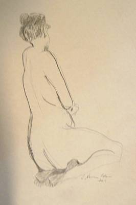 Drawing - Nude Crouching by Esther Newman-Cohen