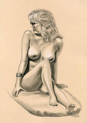 Nude Drawing - Nude Day At The Beach by Shelby