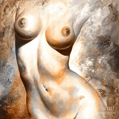 Nude Details - Digital Color Version Rust Art Print by Emerico Imre Toth
