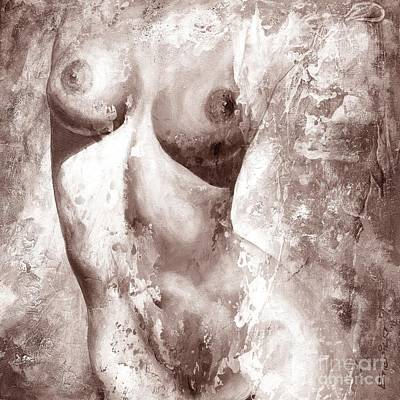 Modern Abstract Painting - Nude Details - Digital Gray Color Version by Emerico Imre Toth