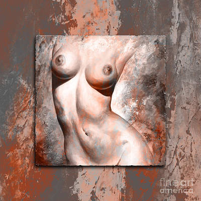 Female Mixed Media - Nude Details Style Version Brick And Gray by Emerico Imre Toth