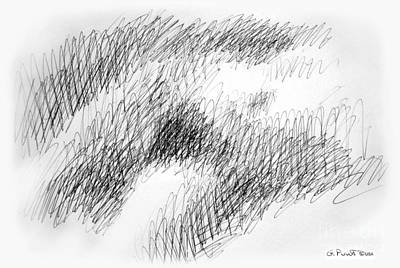 Drawing - Nude Female Abstract Drawings 1 by Gordon Punt