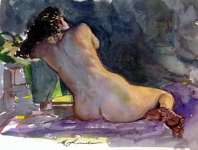 Painting - Nude Female Back by Mark Lunde