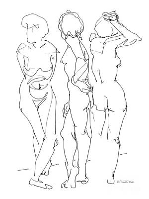 Drawing - Nude Female Drawings 13 by Gordon Punt