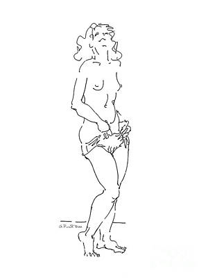 Art Print featuring the drawing Nude Female Drawings 4 by Gordon Punt