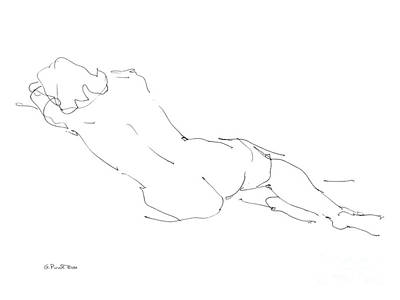 Line Art Drawing - Nude Female Drawings 9 by Gordon Punt