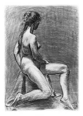 Drawing - Nude Female Figure Drawing by Adam Long