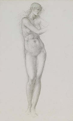 Burne-jones Drawing - Nude Female Figure Study For Venus From The Pygmalion Series by Sir Edward Coley Burne-Jones