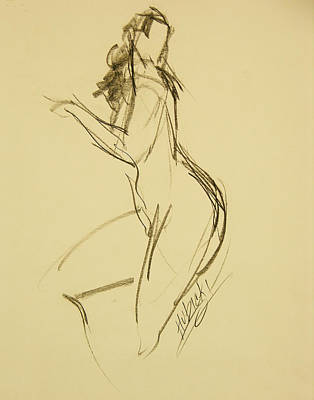 Hip Drawing - Nude Female Full Figure W Head Turned Towards Hips  by Frederick Hubicki