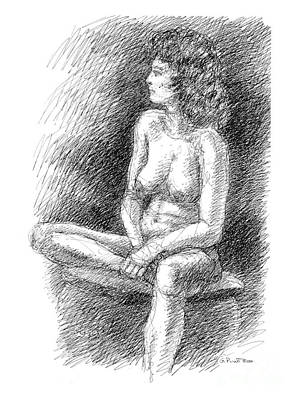Drawing - Nude Female Sketches 2 by Gordon Punt