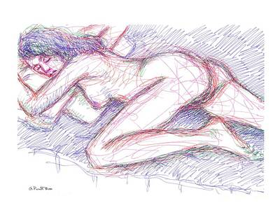 Drawing - Nude Female Sketches 5 by Gordon Punt