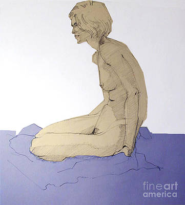 Drawing - Nude Figure In Blue by Greta Corens